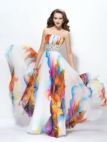 Printed Strapless Beading A-Line Prom Dress