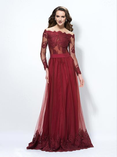 A-Line Off-The-Shoulder Lace Button Evening Dress