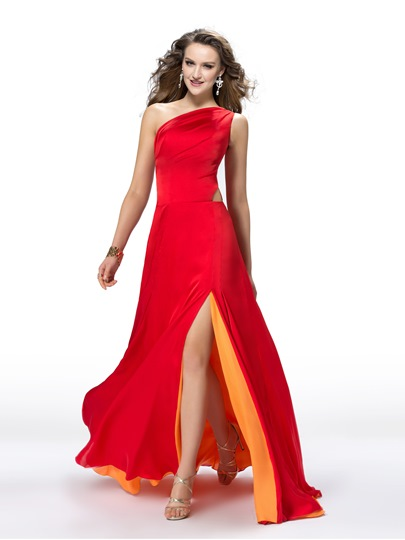 One-Shoulder Hollow Out Split-Front Prom Dress