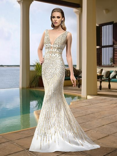 Straps Beading Mermaid Brush Train Wedding Dress