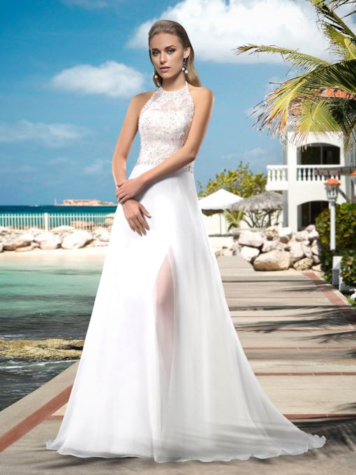 Halter Appliques Sequins Beading Beach Wedding Dress
