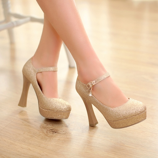 Golden PU Pointed Toe Shimmering Powder Stiletto Heel Pumps
