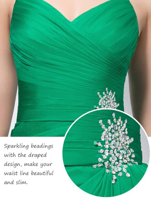 Trumpet/Mermaid Halter Split Front Beading Prom Dress