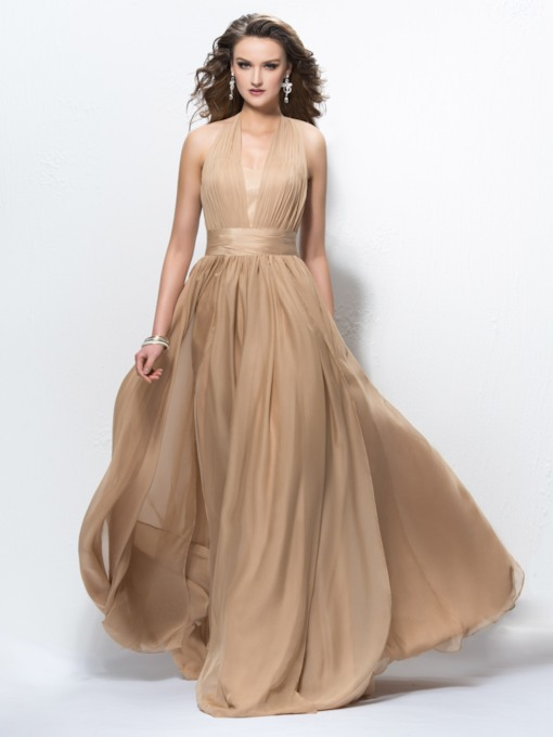 Halter Pleats A-Line Long Evening Dress
