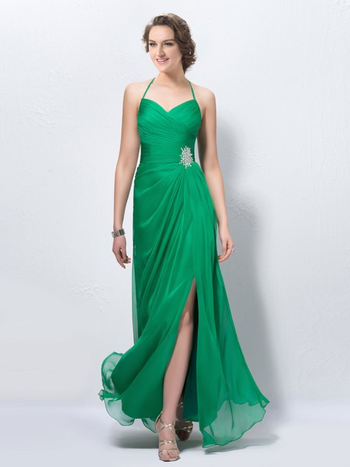 Halter Split Front Beading Prom Dress