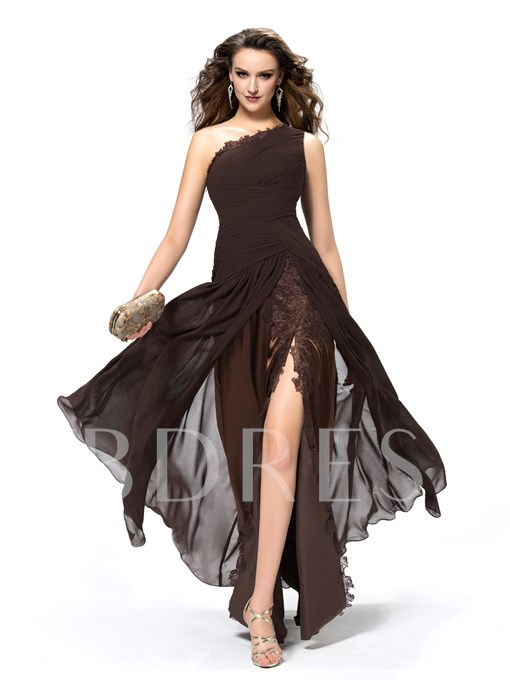 Ruffles One Shoulder Sheath Evening Dress