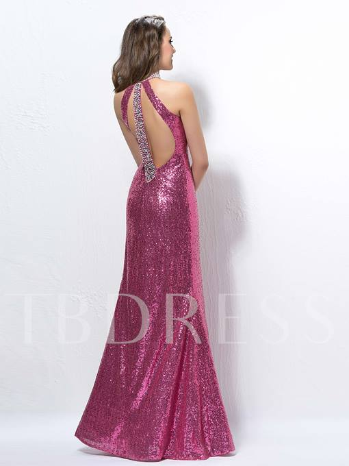 Extravagant Halter Sequins Beading Split-Front Evening Dress