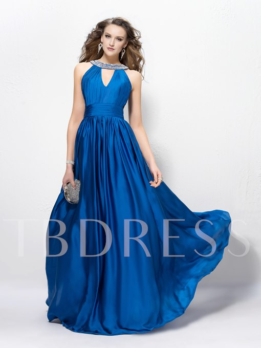 A-Line Jewel Sequins Pleats Zipper-Up Floor Length Evening Dress
