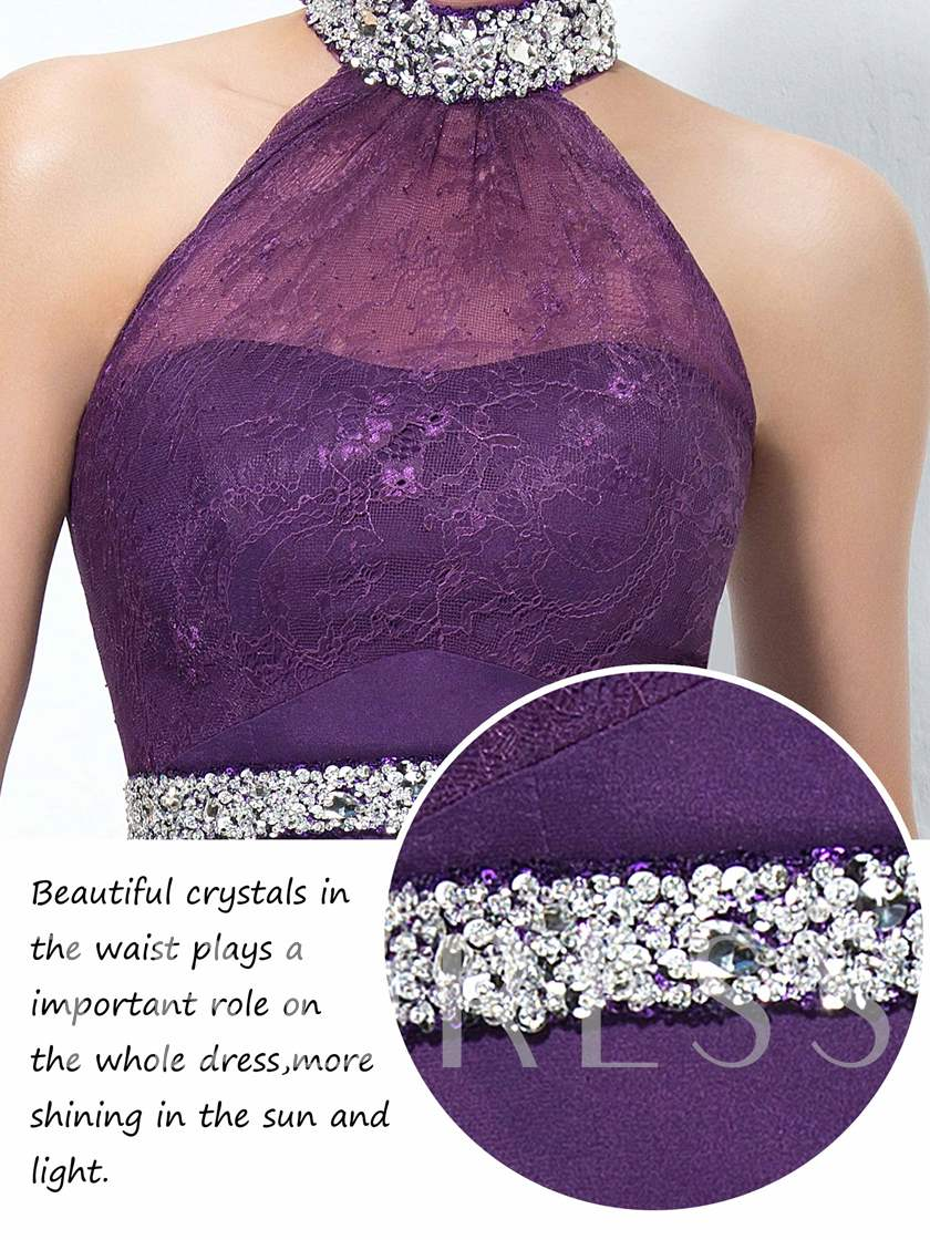 Halter Asymmetry Beading Lace Prom Dress