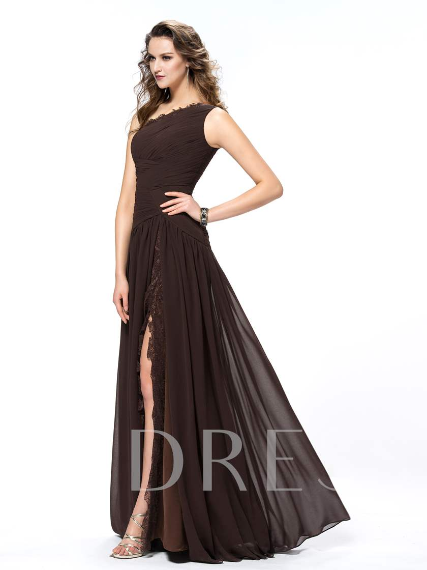 Split-Front Pleats Appliques One Shoulder Evening Dress