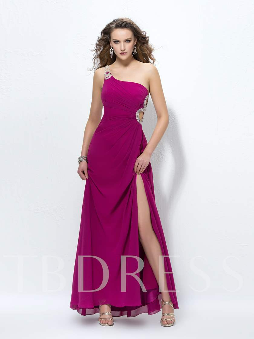 A-Line One-Shoulder Sequins Hollow Out Prom Dress