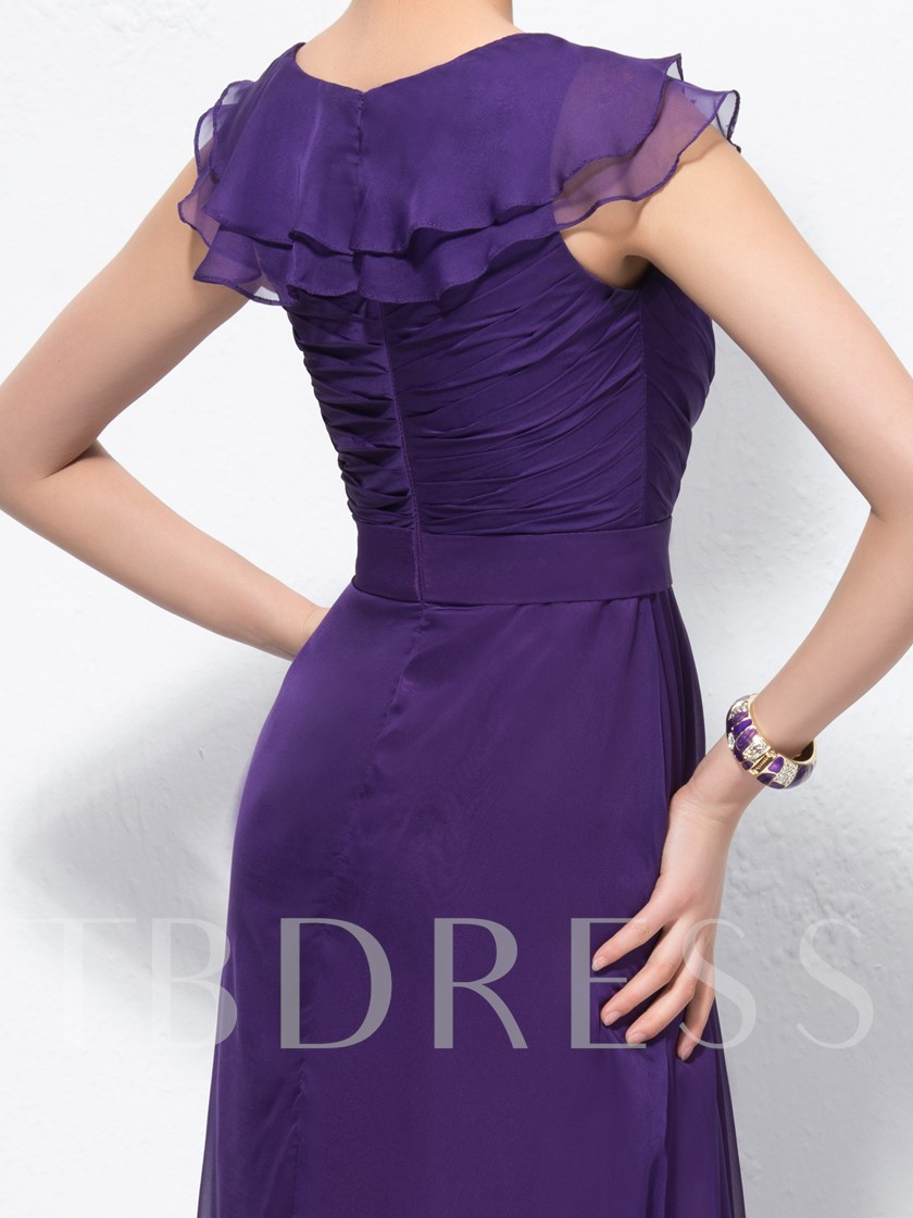 A-Line V-Neck Pleats Flouncing Ruched Evening Dress