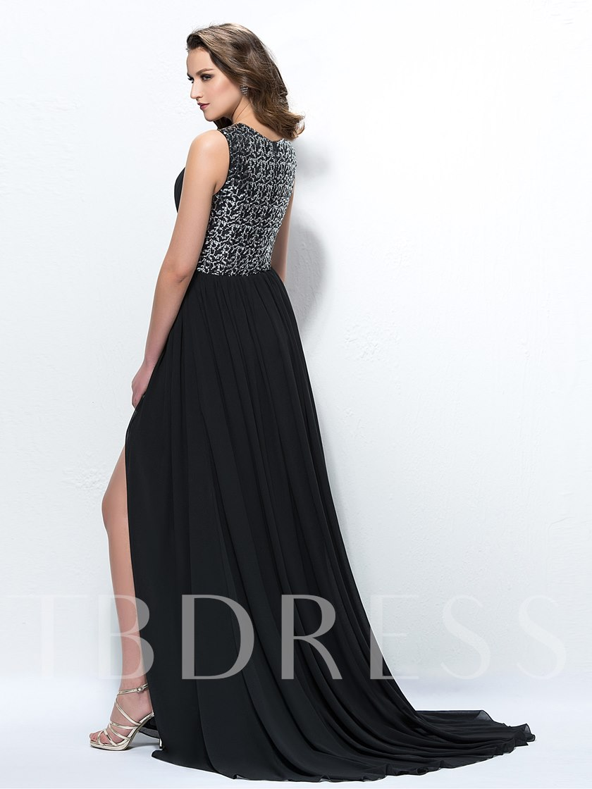 Sequins A-Line Split-Front Evening Dress