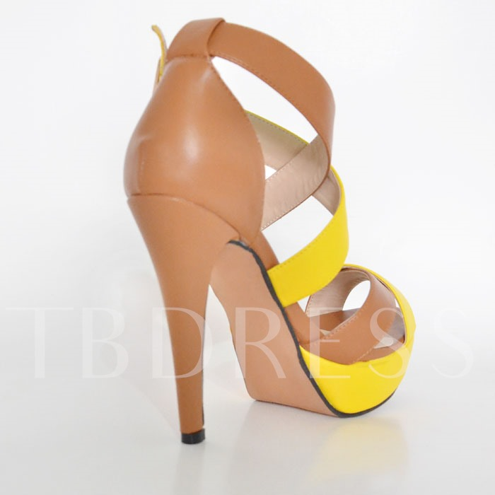 Open Toe Stiletto Heel Color Block Women's Sandals