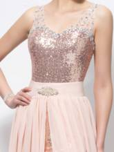 Straps Beading Sequins Split-Front Column Prom Dress