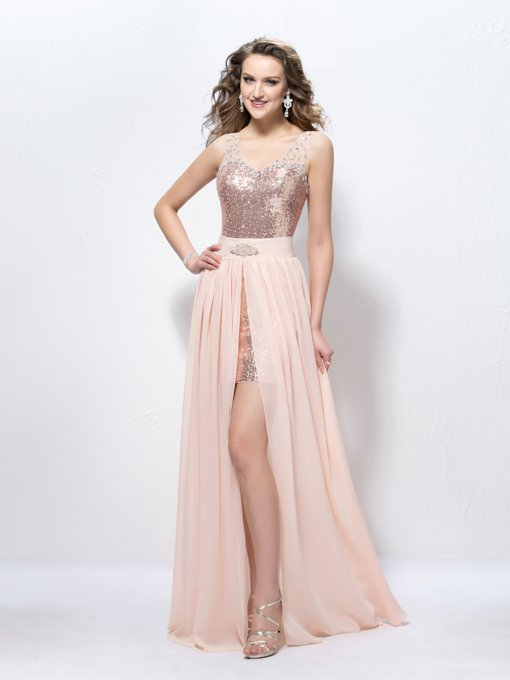 Straps Beading Sequins Split-Front Prom Dress