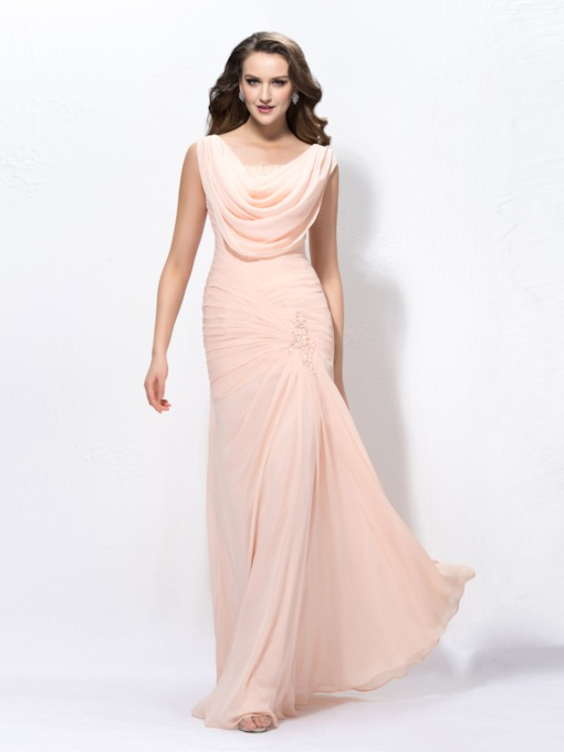 Cowl Neck Beading Pleats Evening Dress