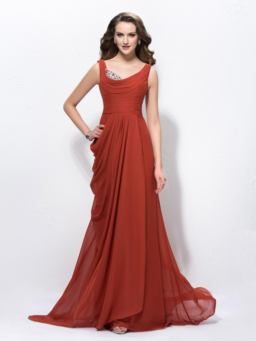 Cowl Beading Sweep/Brush Train Pick-ups Evening/Prom Dress