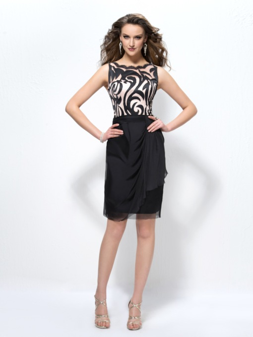 Office Lady Scoop Zipper-Up Column Cocktail Dress