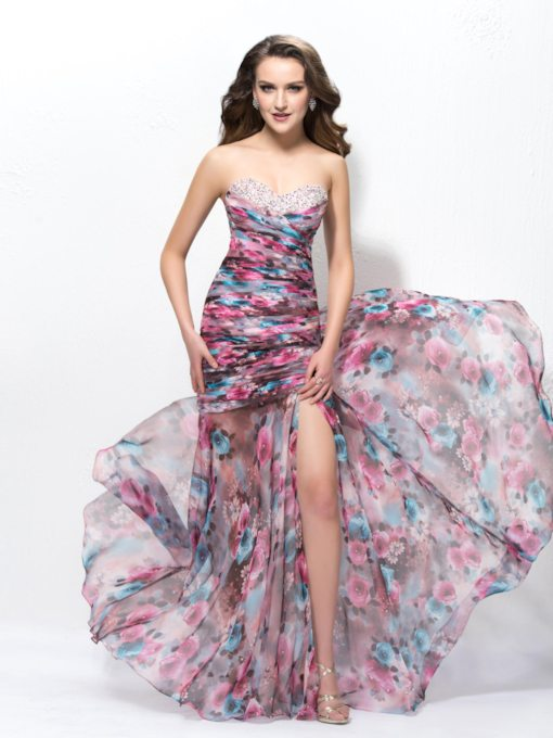 Strapless Split Front Mermaid Beading Long Prom Dress