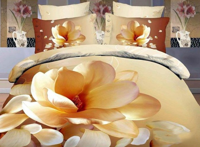 Magnolia Printed Elegant Style Cotton 4-Piece 3D Bedding Sets/Duvet Covers