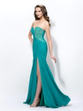 Sweetheart Beading Split-Front Ruched Trumpet Prom Dress