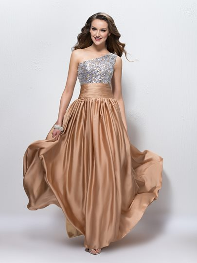 One Shoulder Sequins Beading A-Line Floor Length Prom Dress