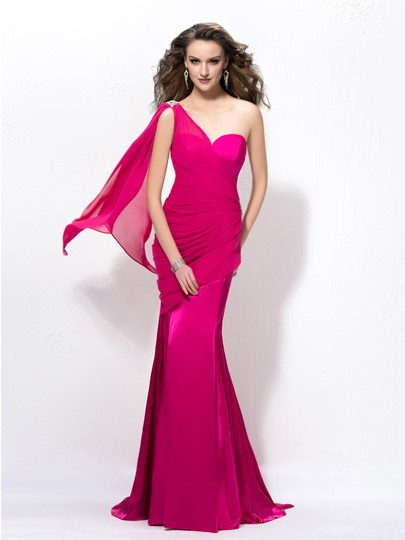 Mermaid One-Shoulder Beading Evening Dress