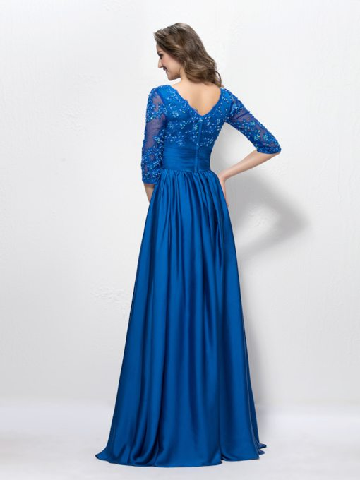 V Neck A-Line Appliques Sequins Half Sleeves Floor-Length Evening Dress