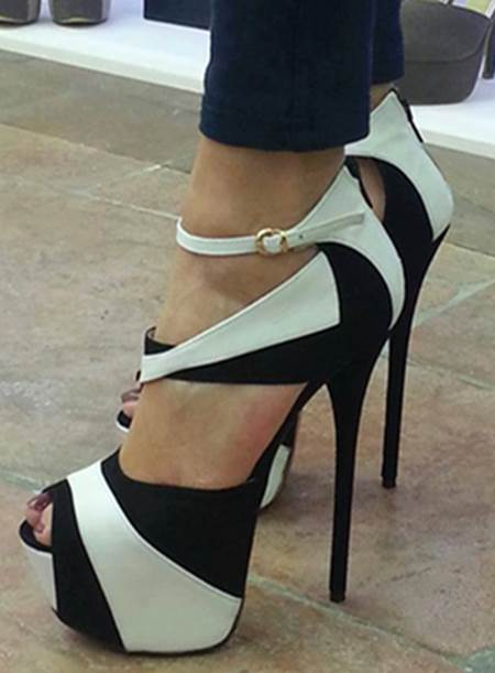 Two-tone Black And White Stiletto Heel Open Toe Women's Pumps