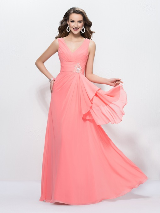 V-Neck A-Line Beading Zipper-up Floor Length Evening Dress