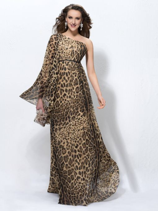 One Shoulder Long Sleeve Beading Leopard Print Evening Dress