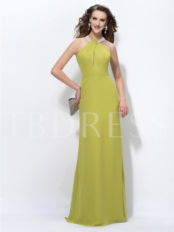 Halter Sheath/Column Sequins Beading Floor-Length Evening Dress