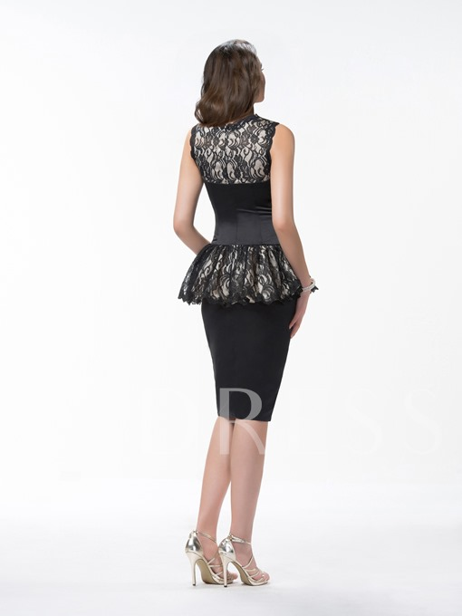 Sheath Knee Length Scoop Lace Ruffles Sleeveless Formal Dress