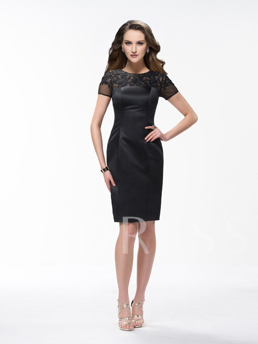 Sheath Knee Length Scoop Lace Short Sleeves Formal Dress