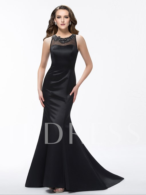 Mermaid Scoop Neck Beading Court Train Evening Dress