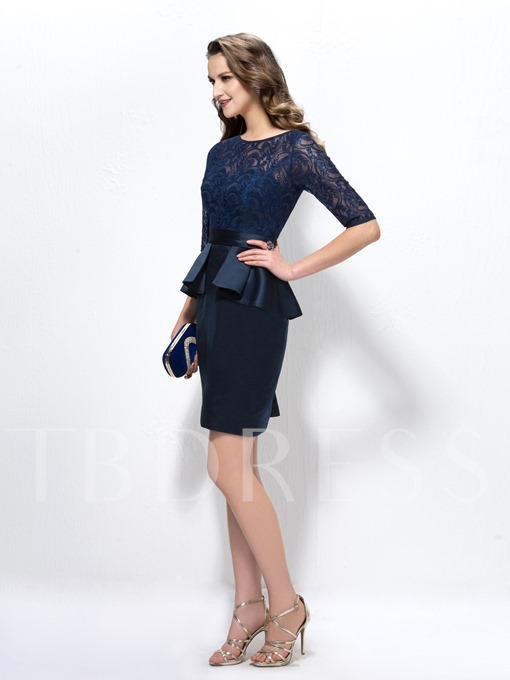 Lace Half Sleeves Column Short Mother of the Bride Dress