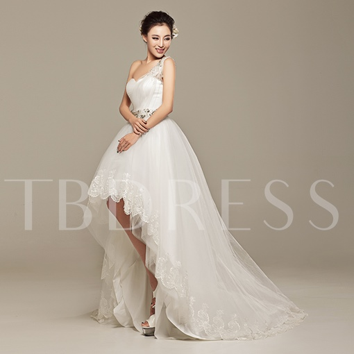 A-line Asymmetry One-shoulder Lace-up Sequins Sweep/Brush Wedding Dress