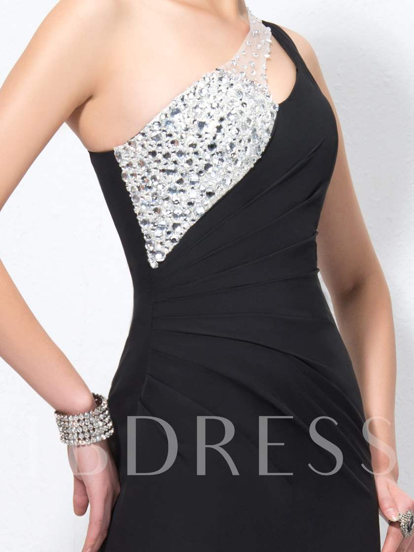 Trumpet Split the Shoulder Beading Sweep Train Hollow-Out Evening Dress