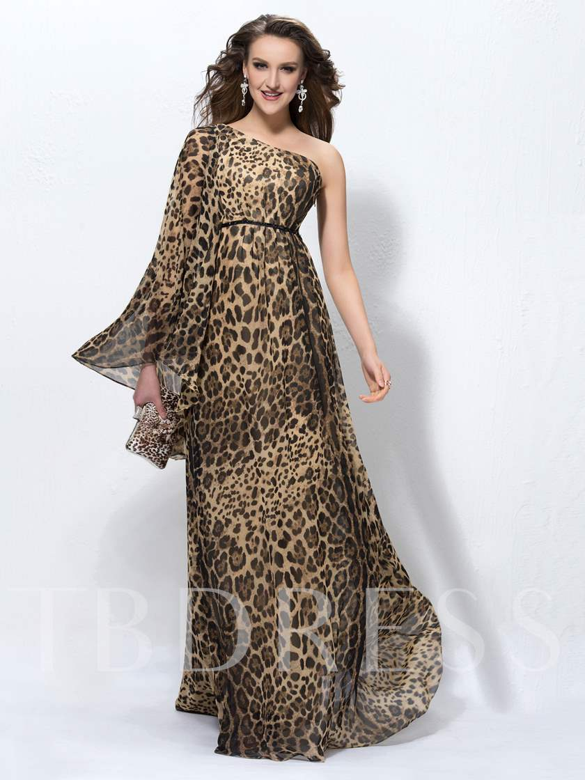 Leopard-print One-Shoulder Evening Dress - Tbdress.com