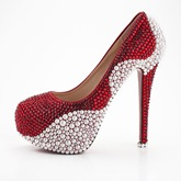 Aestheticism Red Rhinestone White Pearl Wedding Shoes