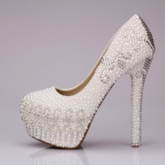Rhinestone Pearl Closed Toe Stiletto Heel Wedding Shoes