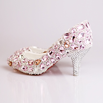 Pink Rhinestone Beak Closed Toe Mid Heel Wedding Shoes