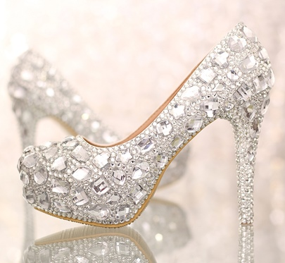 Closed Toe Silver Rhinetone Stiletto Heel Wedding Shoes