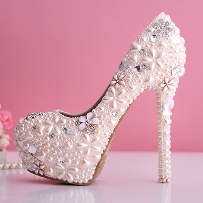 Baby Pink Pearl Flowers Closed Toe Stiletto Heel Wedding Shoes