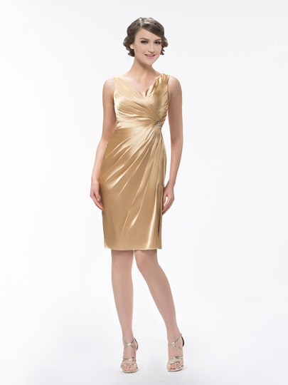 Pleats Beading Sheath Bridesmaid Dress