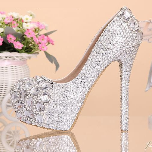 Silver Rhinetone Closed Toe Stiletto Heel Wedding Shoes