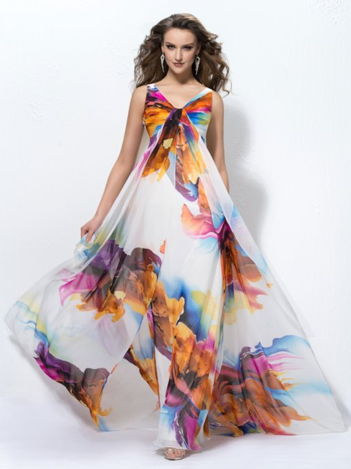 V-Neck Pleats Print Evening Dress