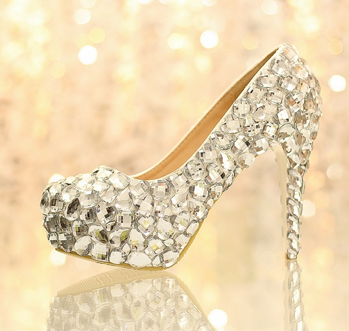 Rhinestone Closed Toe Stiletto Heel Slip-On Women's Wedding Shoes