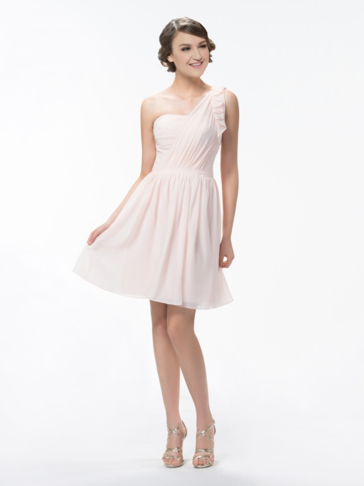 One Shoulder A-Line Short/Mini Ruffles Bridesmaid Dress